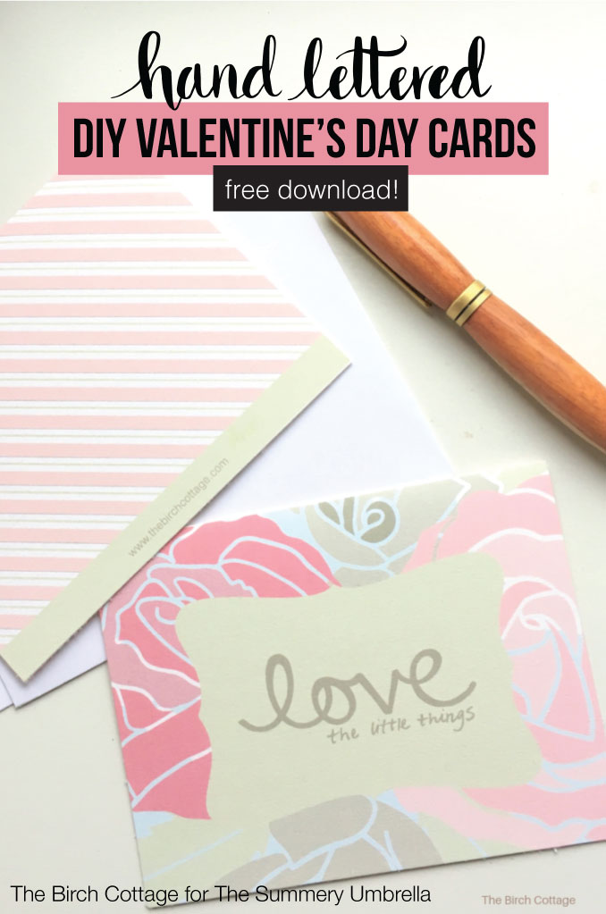 "Easily create your own printable Valentine's Day cards featuring ""love the little things"" hand drawn graphics and a little help from Avery Design & Print Online! #valentines #valentinesday #thesummeryumbrella"