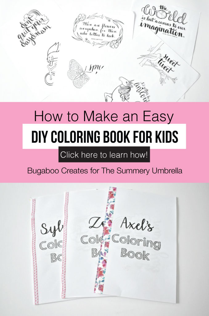 Did you know you can sew on paper?  Creating custom DIY coloring books for party favors or just to have on hand for the kids is easy and fun!  All you need is a sewing machine and thread to make the binding.  You can also create personalized coloring books the easy way - with a simple stapler. #coloringpages #kidsactivities #thesummeryumbrella