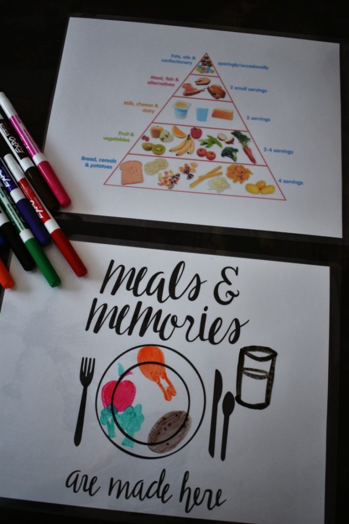Learn how to make these fun and easy kid-friendly educational placemats to foster manners, healthy eating, and conversation at dinner time! They are an easy printable DIY that you and your children will love! #preschool #printable #thesummeryumbrella