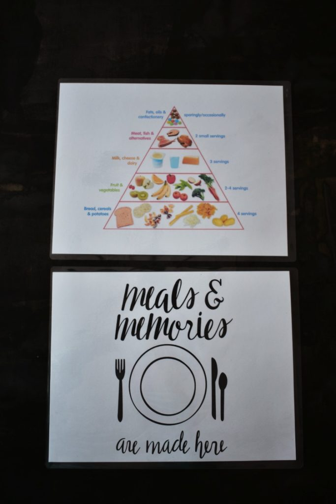 Learn how to make these fun and easy kid-friendly educational placemats to foster manners, healthy eating, and conversation at dinner time! They are an easy printable DIY that you and your children will love! #printables #kids #thesummeryumbrella