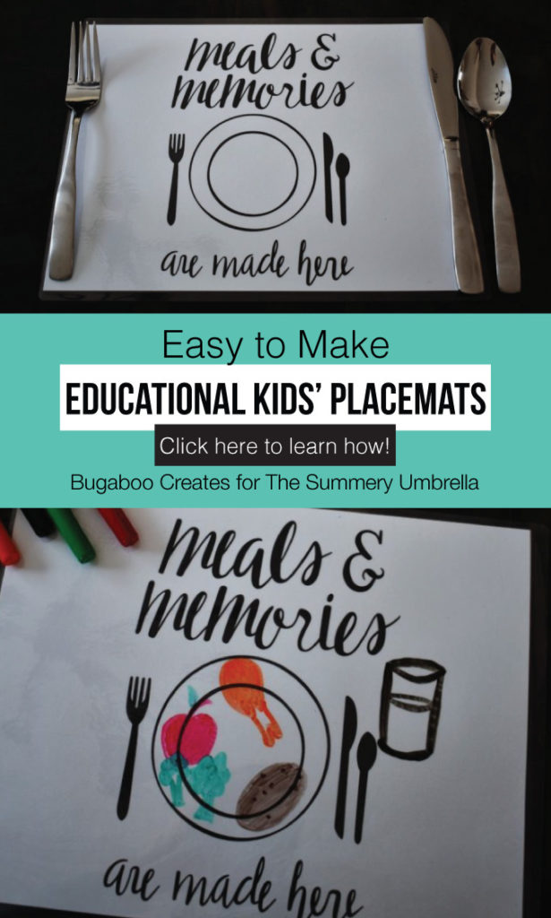 Learn how to make these fun and easy kid-friendly educational placemats to foster manners, healthy eating, and conversation at dinner time! They are an easy printable DIY that you and your children will love! #kidsprintables #kidsactivities #thesummeryumbrella