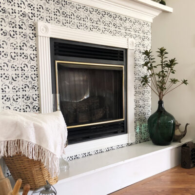 How to Stencil Faux Tile Around Your Fireplace Mantle