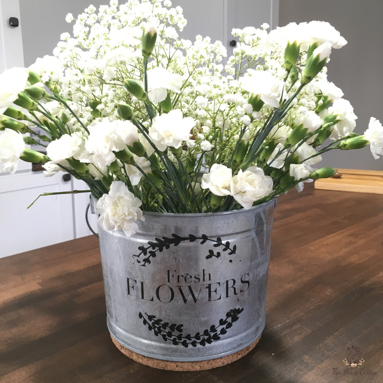 French inspired DIY Flower Market Bucket with white carnations