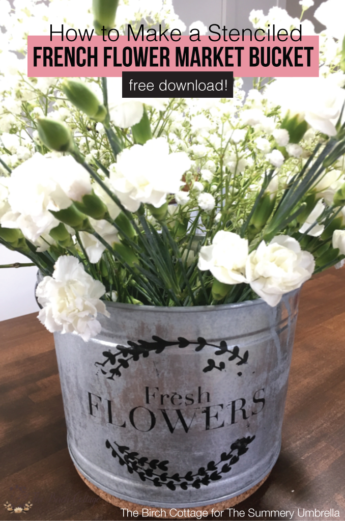 Learn how to stencil a French flower market galvanized bucket using paint, a SVG file and a cutting machine with ideas on how to use it in your home decor.