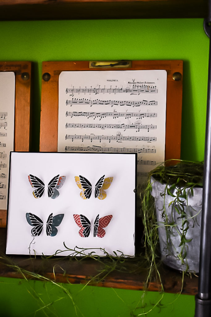 Learn how to make DIY butterfly specimen art in fun spring colors using simple tools and materials with this easy tutorial. #diy #decor #TheSummeryUmbrella #LZCathcart