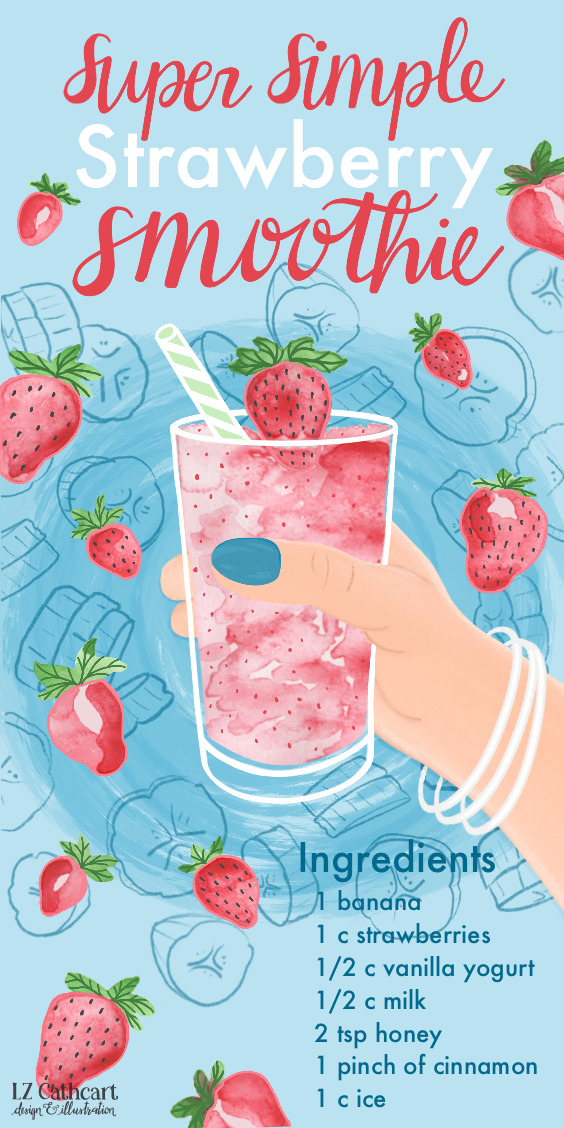 Do you enjoy a healthy & yummy snack after work? Sometimes it's hard to find a quick fix, but with this strawberry smoothie recipe it's always super simple! #strawberrysmoothie #strawberryillustration #strawberrysmoothiehealthy #strawberrysmoothiewithyogurt ##strawberrysmoothiewithoutyogurt