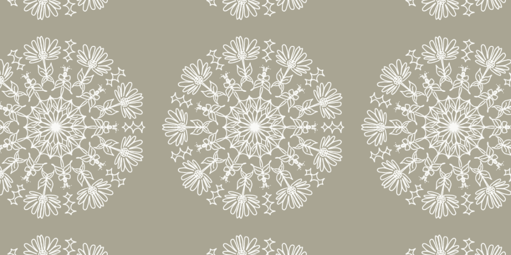 circular flower in gray