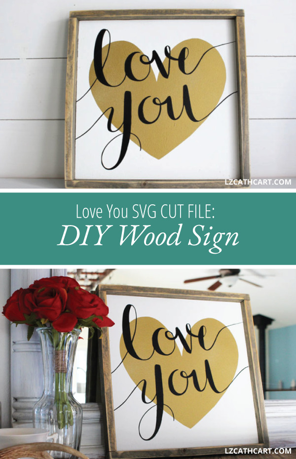 Looking for an easy Valentine's Day project for your home decor? Try this DIY Love You Sign that is great for the upcoming holiday and all year round too! #loveyou #iloveyou #valentinesdaysign #romanticsign #weddingsign #lovesign #diywoodsign #diylovesign