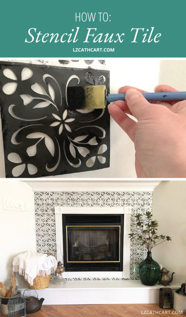 Does your fireplace mantle need an update? Do you crave a new look, but need an inexpensive fix? Learn how to create beautiful faux tiles in this tutorial. #fauxtile #tilestencil #diystencil #flowerstencil #fauxtilefireplace #fireplacemantle