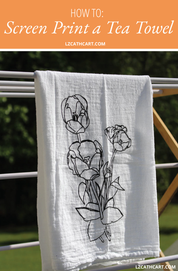 Want to know How to Screen Print a Custom Tea Towel? Today, I'm not only going to tell you how, but show you as well! PLUS, this free design is included! #diyscreenprinting #howtoscreenprint #diyteatowels