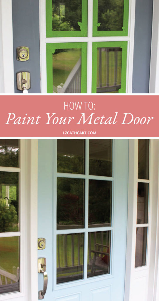 Looking for an easy and fun DIY project for this weekend? Paint your metal front door with these simple steps NOW! Video tutorial included. #metalfrontdoor #paintfrontdoor #metalfrontdoormakeover