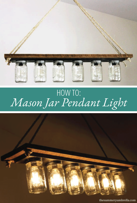 Are you looking for an interesting and unique DIY hanging ceiling light fixture for your kitchen or dining room? Maybe even with a rustic farmhouse and eclectic twist? Then I definitely think you'll love this easy mason jar pendant light! #lightfixtures #farmhouse #thesummeryumbrella