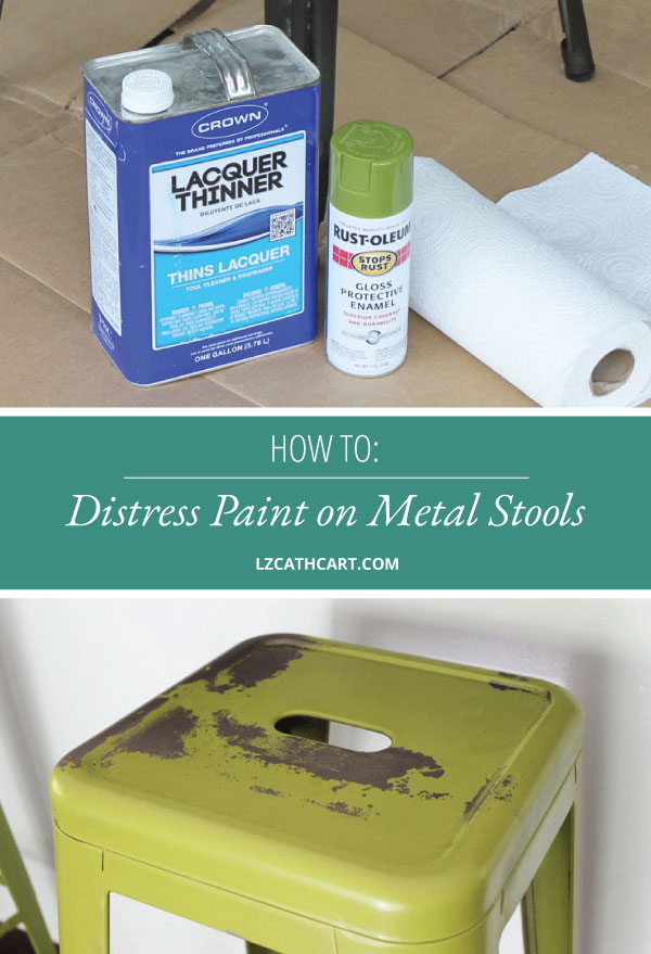 Not a fan of the color of your metal stools? Don't worry! Learn how to paint and distress metal with this quick and easy tutorial. #paintmetal #paintbarstools #diymetalstools #distresspaint