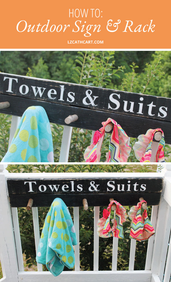 Sick and tired of wet suits and towels laying on the floor? Create this perfect little beach towel and bathing suit rack that help eliminate this problem! #towelsignforpool #towelrack #diypoolsign #diypooltowelrack #pooltowelsign #pooltowelsigndiy #diytowelrack