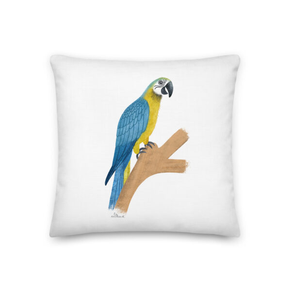 blue and gold parrot pillow