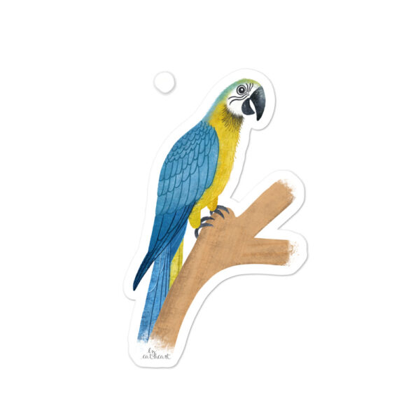 blue and gold parrot sticker