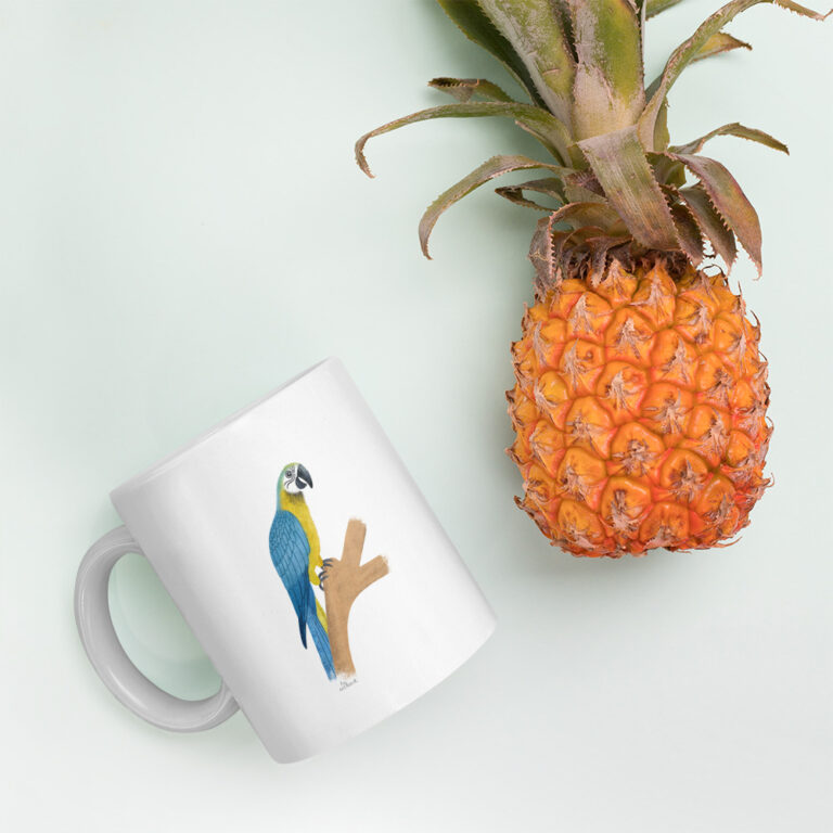blue parrot mug