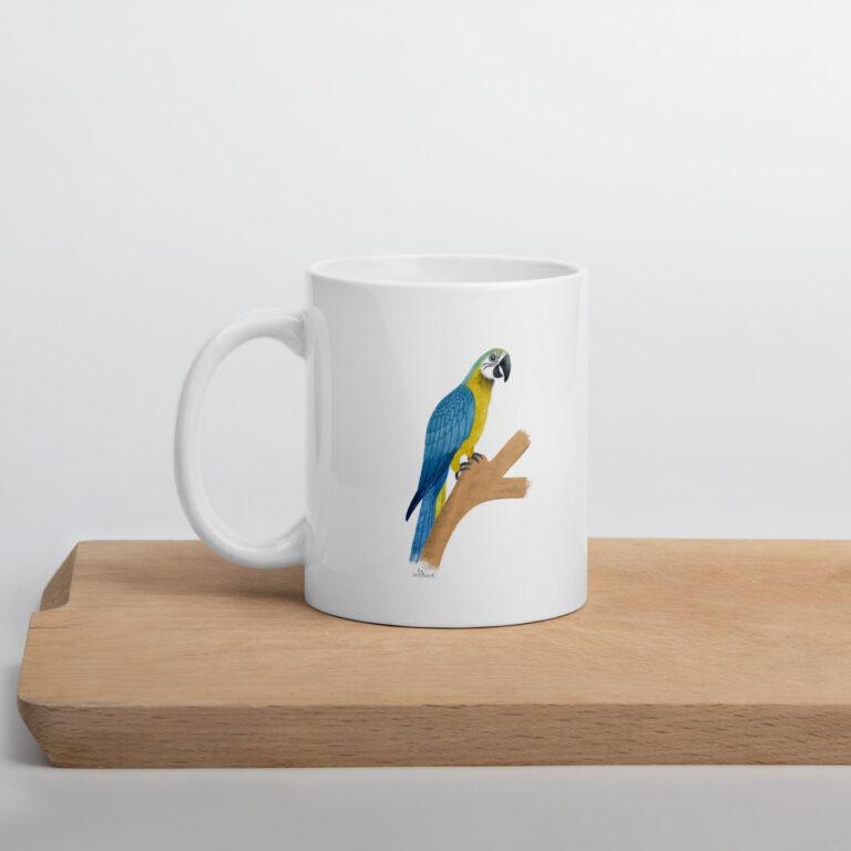 white parrot mug