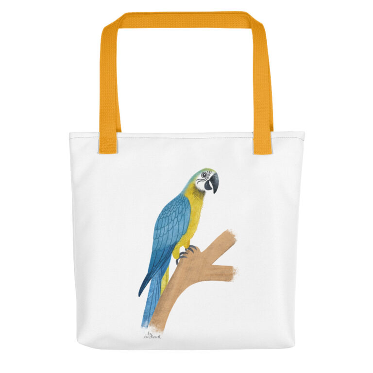 gold parrot tote bag