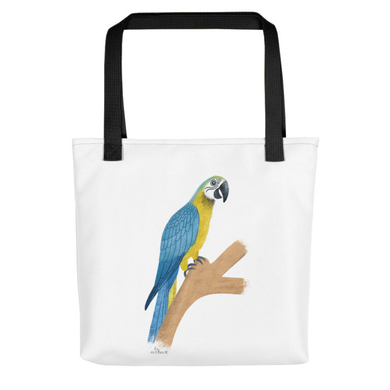 white parrot tote bag