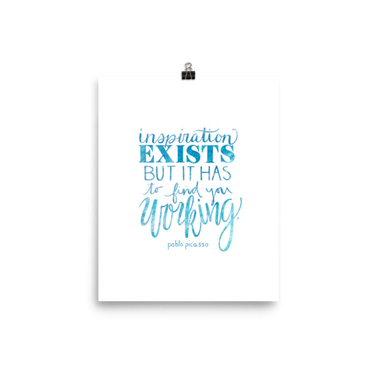 Inspiration Exists Art Print in Blue