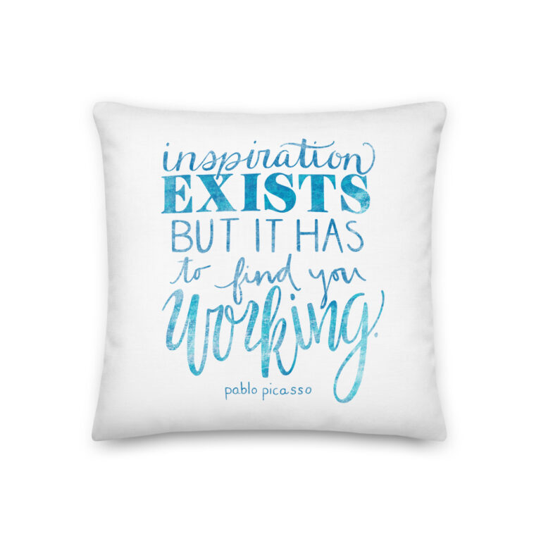Inspiration Exists Pillow in Blue