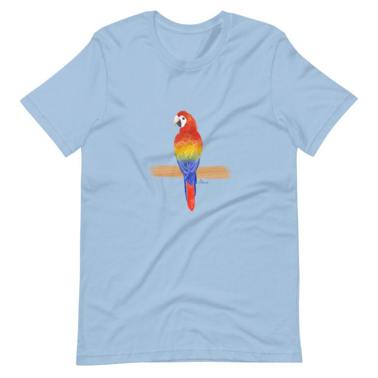 Scarlet Macaw blue tshirt