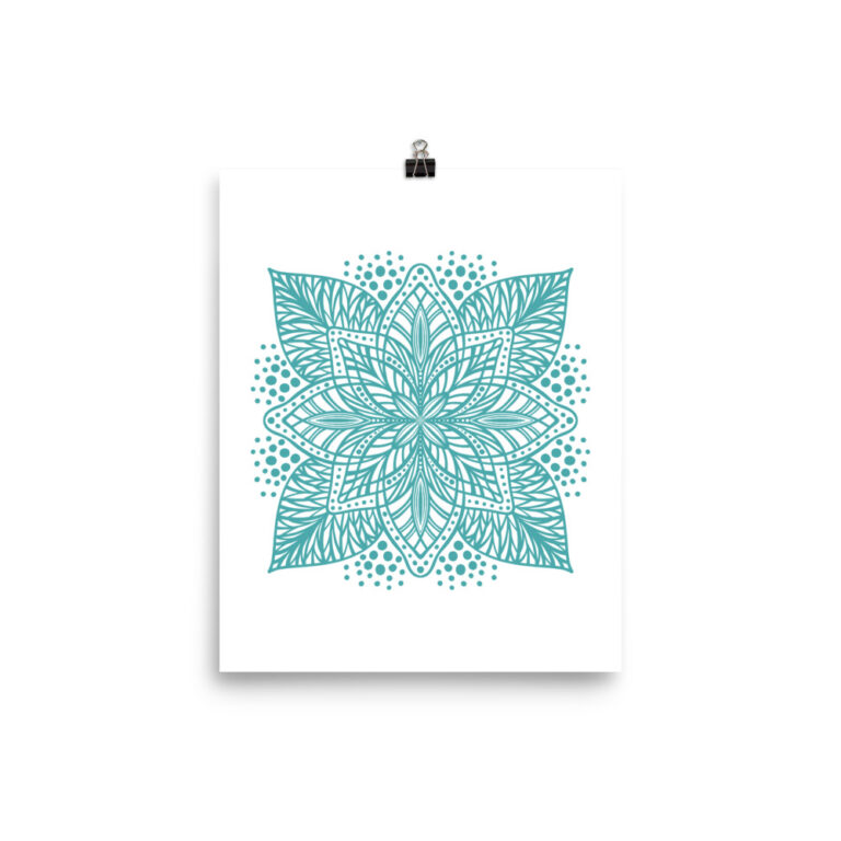 aqua flower mandala art print