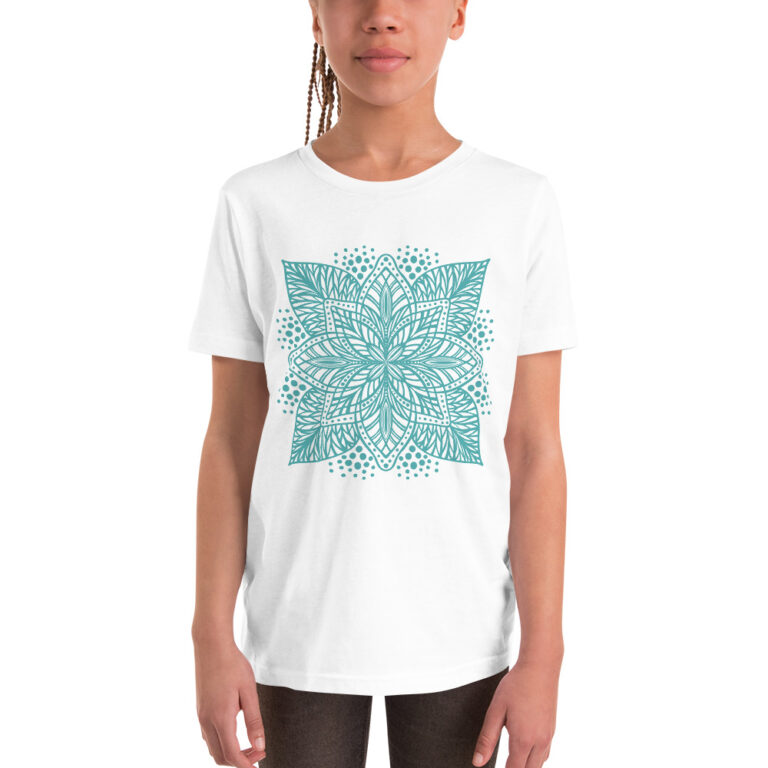 aqua flower mandala kids t-shirt