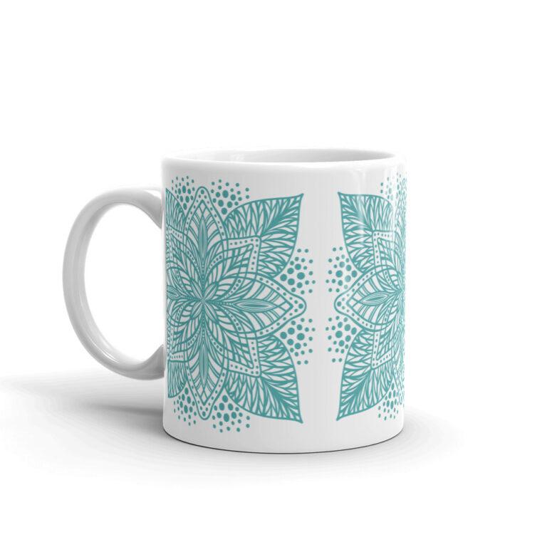 aqua flower mandala mug