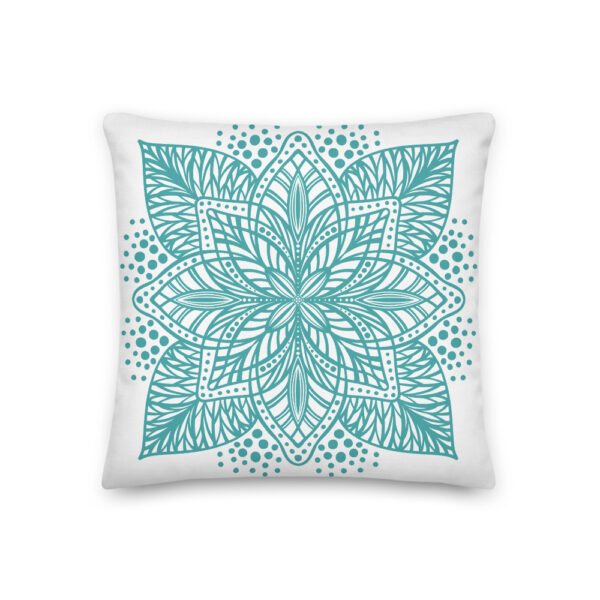 aqua flower mandala pillow
