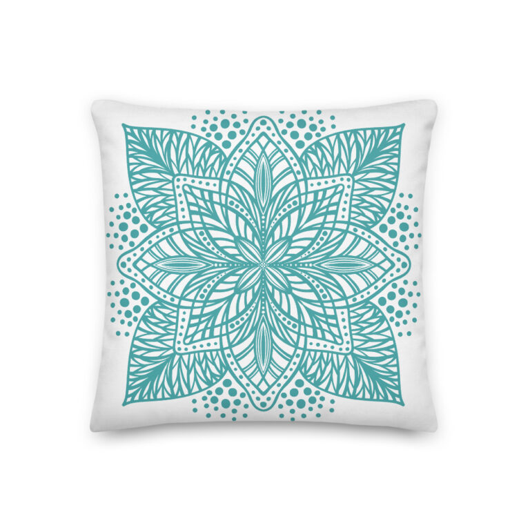 aqua flower mandala pillow