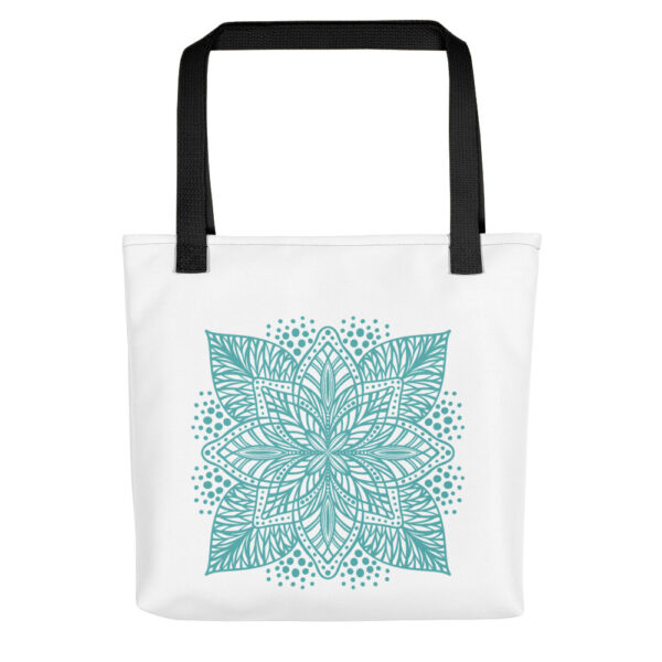 aqua flower mandala tote bag