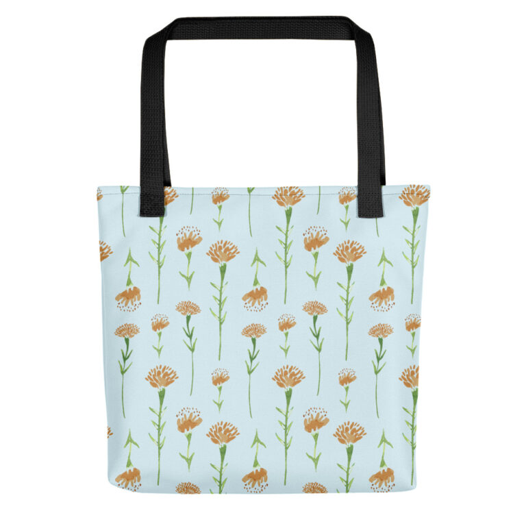 watercolor marigold tote bag black handle