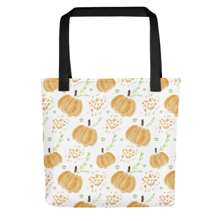 harvest pumpkins tote bag black handle