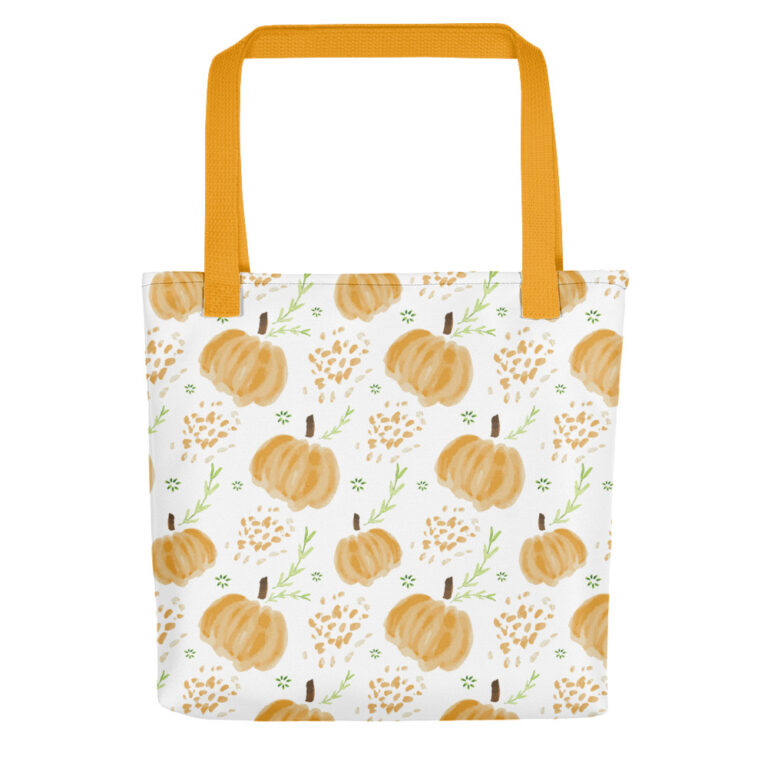 harvest pumpkins tote bag yellow handle