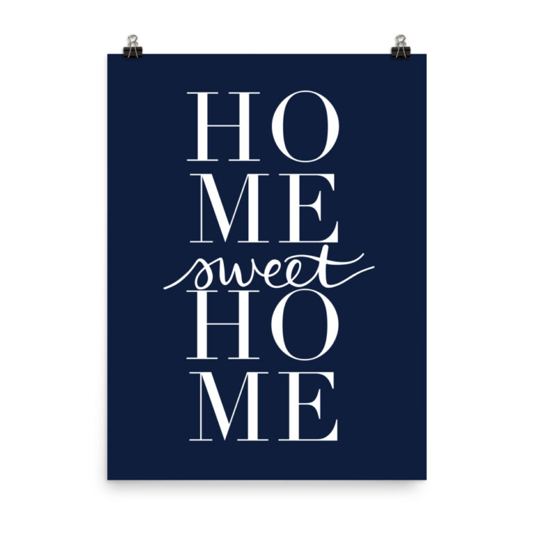 home sweet home art print in navy