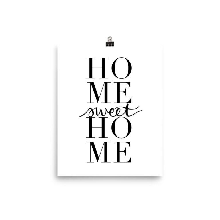 home sweet home art print in white