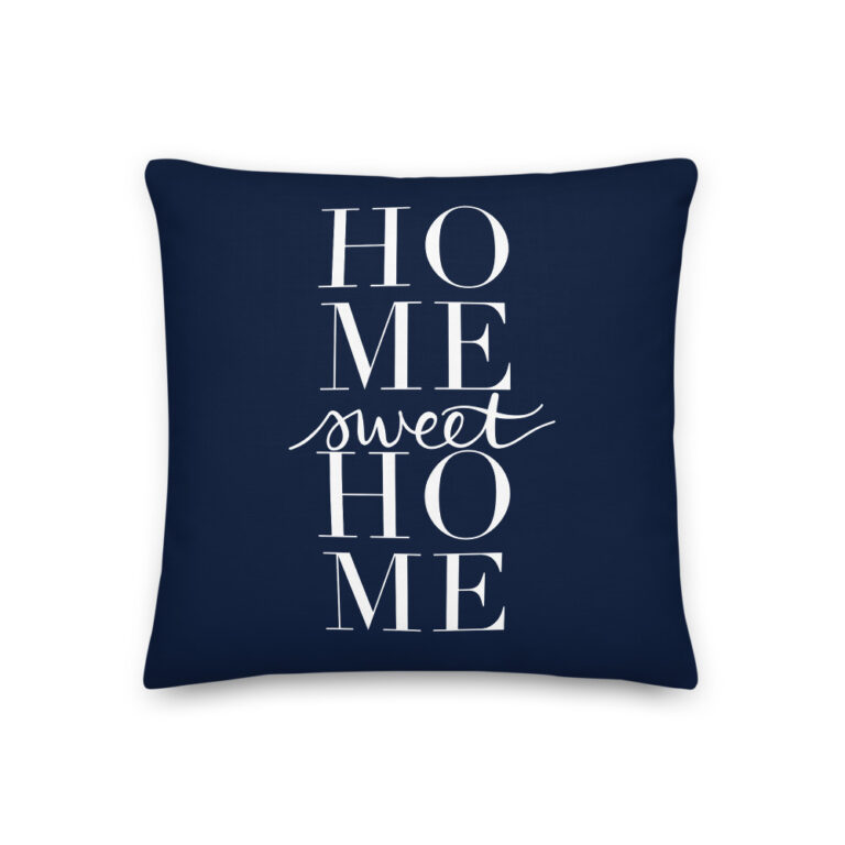 home sweet home pillow in navy