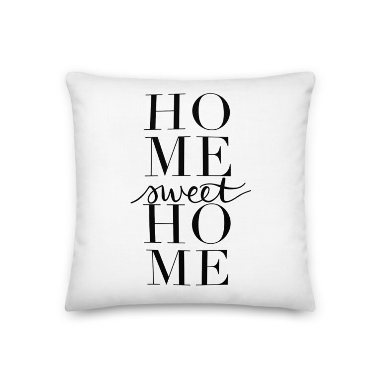 home sweet home pillow in white