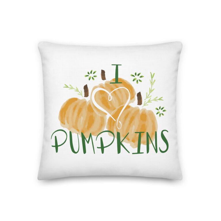 i heart pumpkins pillow