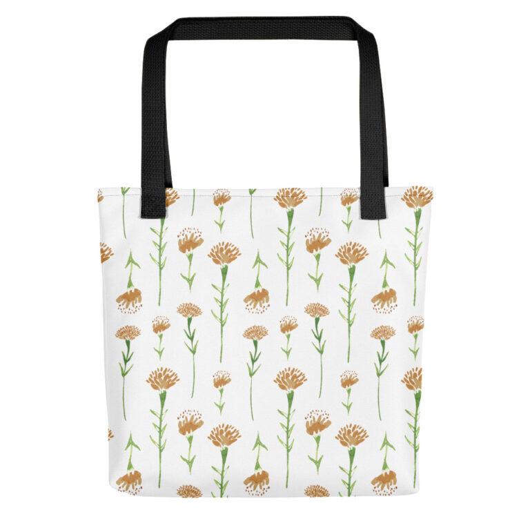 white watercolor marigold tote bag black handle