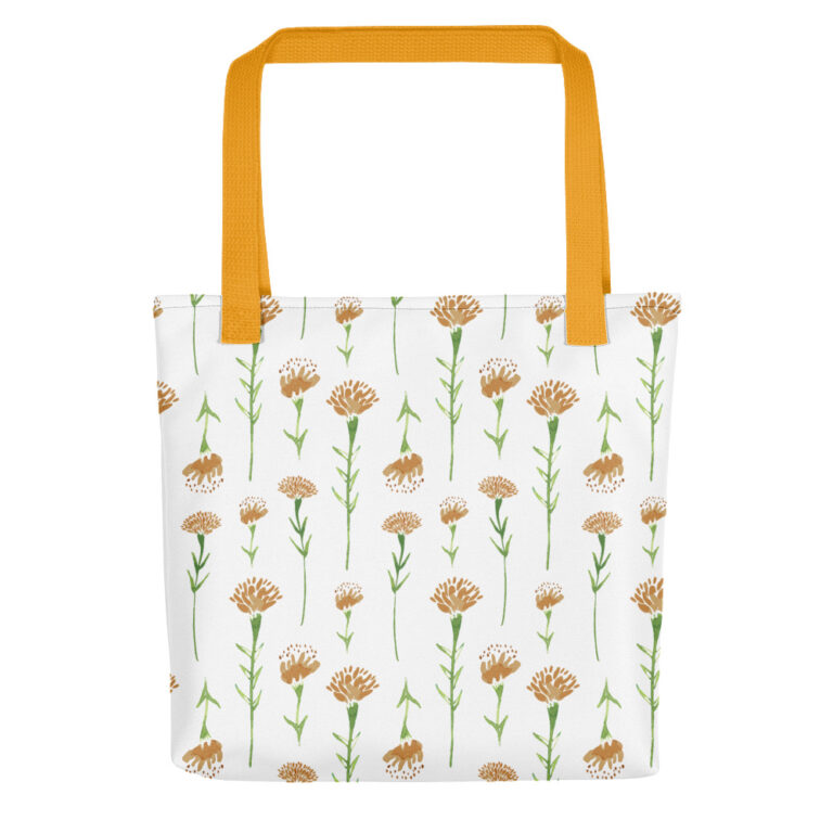 white watercolor marigold tote bag yellow handle