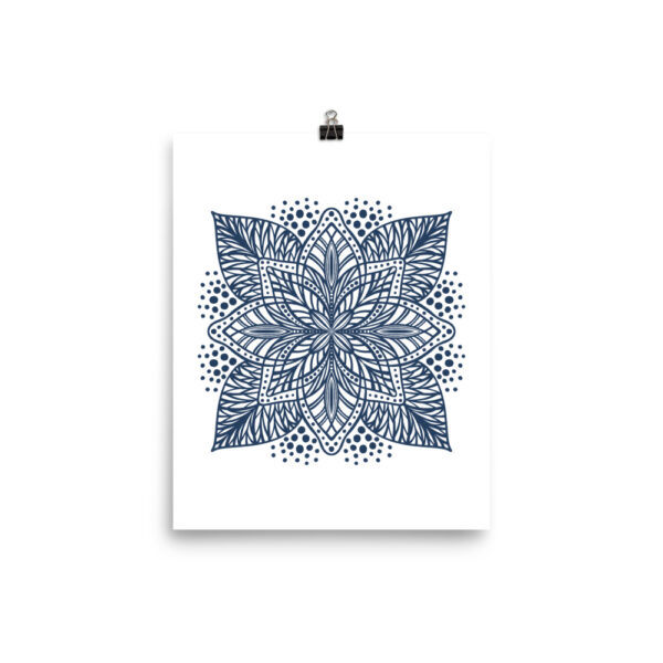 navy flower mandala art print