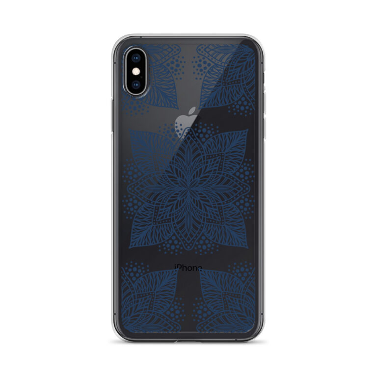 navy flower mandala iphone case