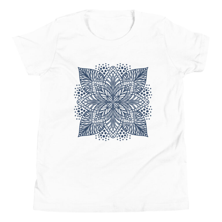 navy flower mandala kids t-shirt