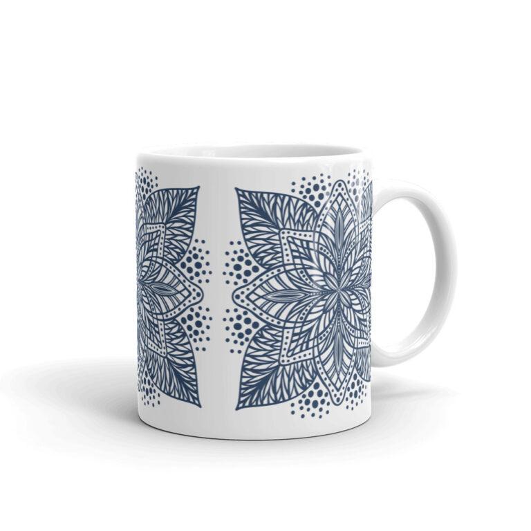 navy flower mandala mug