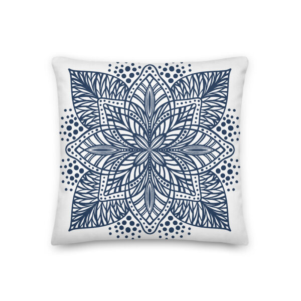 navy flower mandala pillow