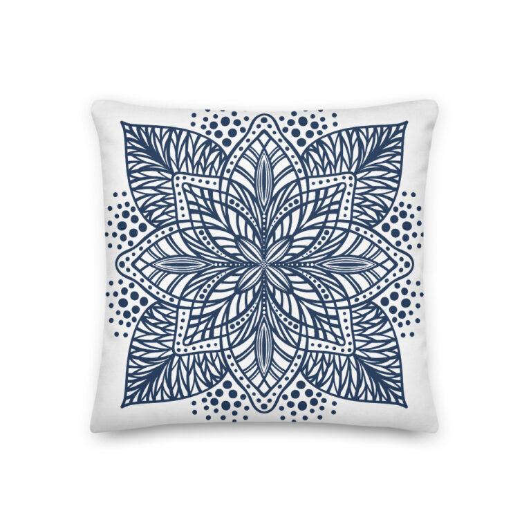 navy flower mandala pillow