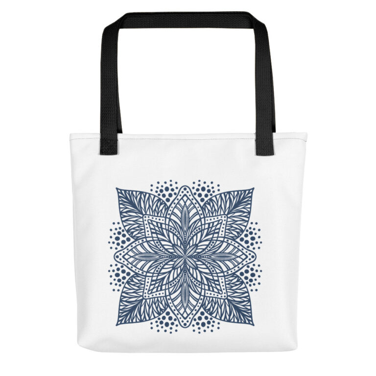 navy flower mandala tote bag